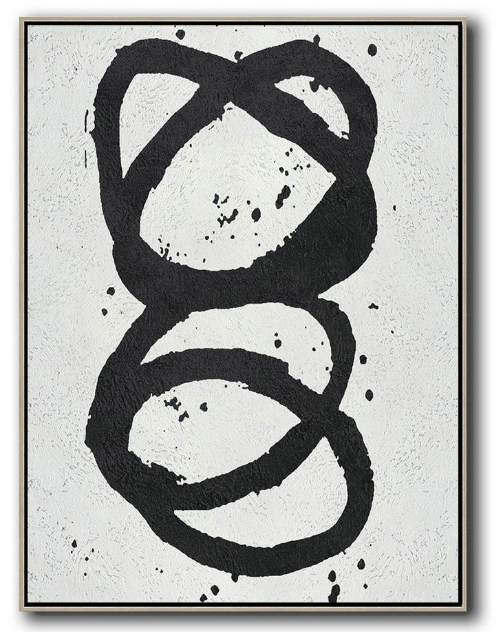 Black And White Minimal Painting On Canvas,Original Art #B5Y9
